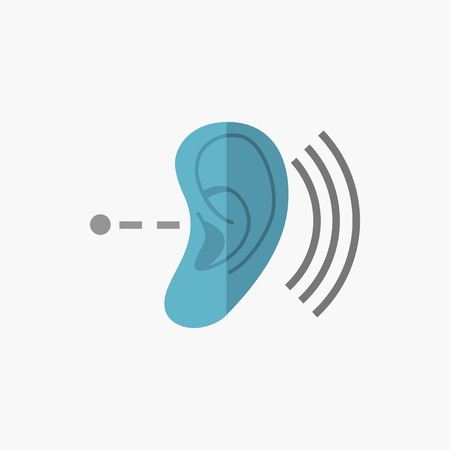 auditory: Deafness. Medical Flat Icon. Vector Pictogram.