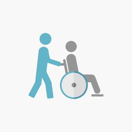 med: Disability. Medical Flat Icon. Vector Pictogram.