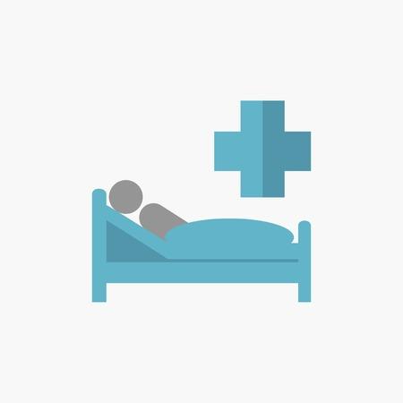 hospitalization: Patient. Medical Flat Icon. Vector Pictogram. Illustration