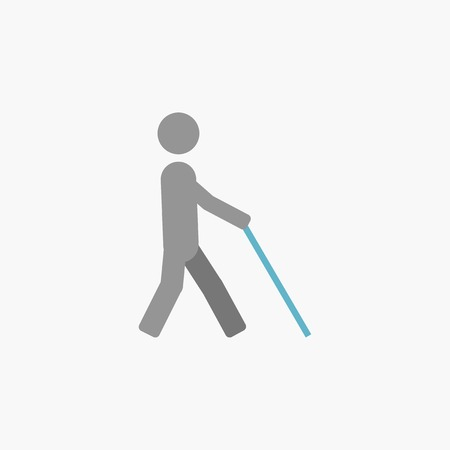 helplessness: Disability. Medical Flat Icon. Vector Pictogram.
