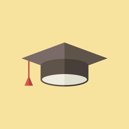 Flat Graduation Hat Icon. Vector Graphics.