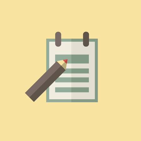 essay: Flat Essay Icon. Vector Graphics.