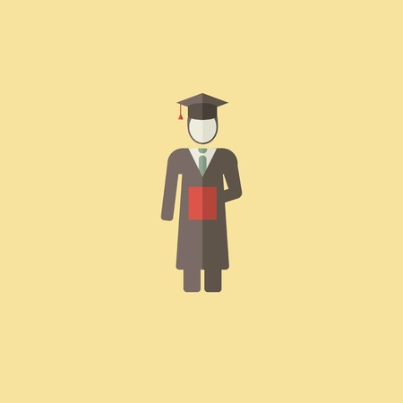 Flat Graduation Icon. Vector Graphics. Illustration