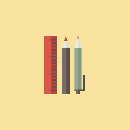 implements: Flat School Supplies Icon. Vector Graphics.