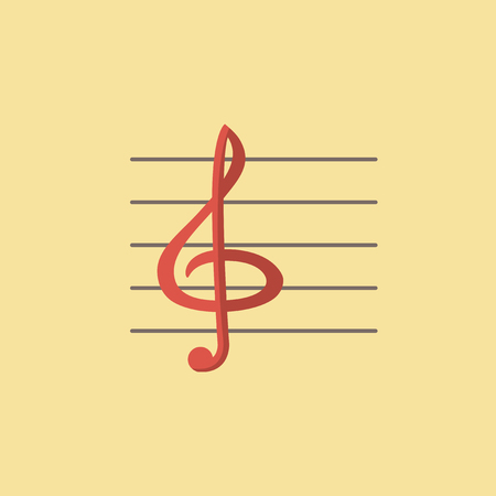 implements: Flat Clef Icon. Vector Graphics.