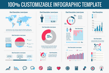 business graphics: Technology Infographic Template. Vector Customizable Elements.