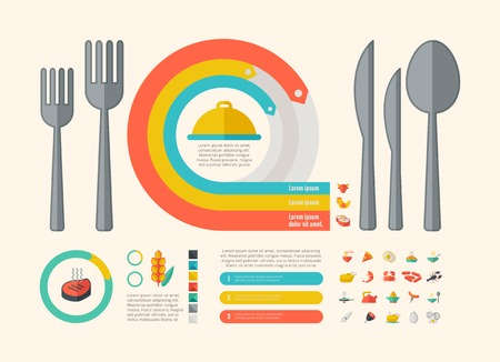 Food Infographic Template. Vector Customizable Elements. Vector