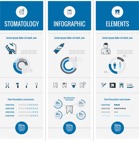 Dental Infographic Template. Vector Customizable Elements. Illustration