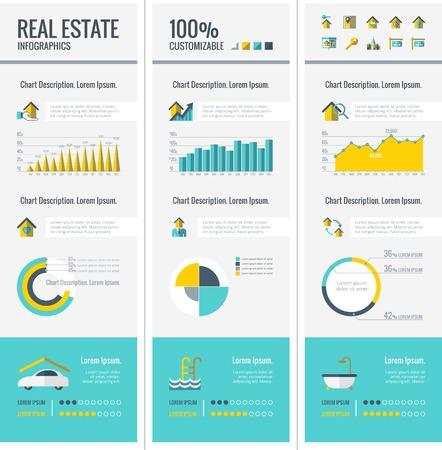 bienes raices: Inmobiliaria Plantilla Infograf�a. Vector Personalizable Elementos.