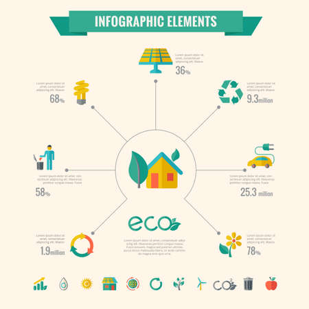 recycling plant: Ecology Infographic Template. Vector Customizable Elements.