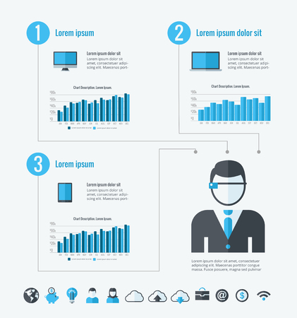 Technology Infographic Template. Vector Customizable Elements. Vector