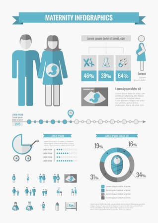 Maternity Infographic Template. Vector Customizable Elements.