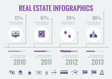 estate: Real Estate Infographic Template. Vector Customizable Elements.