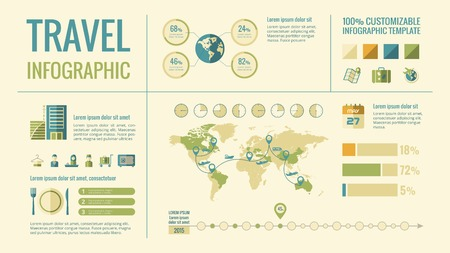 Travel Infographic Template. 向量圖像