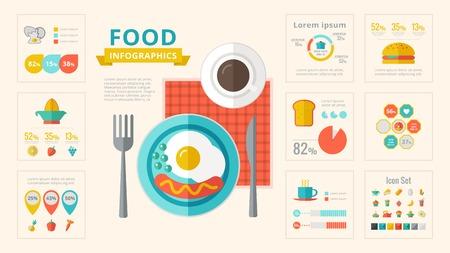 dinner food: Alimentos Plantilla Infograf�a. Vector Personalizable Elementos.