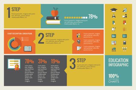 Onderwijs Infographic Template. Vector Aanpasbare Elements.