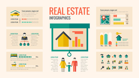 mortgage: Real Estate Infographic Template. Vector Customizable Elements.