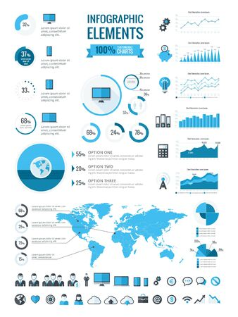 pie chart icon: Technology Infographic Template. Vector Customizable Elements.