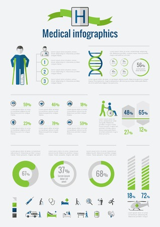 care: Disability Infographic Template. Vector Customizable Elements. Illustration