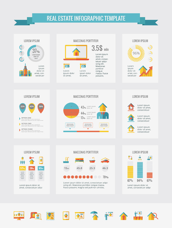 Real Estate Infographic Template. Vector Aanpasbare Elements.