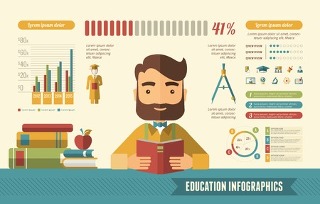 studium: Bildung Infografik Template. Vektor Anpassbare Elemente.