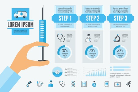 medical: Dental Infographic Template. Vector Customizable Elements. Illustration