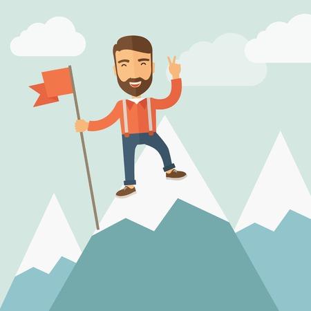 Gelukkig jonge man met baard met vlag op de top van de berg. winnaar en leider concept. platte vector
