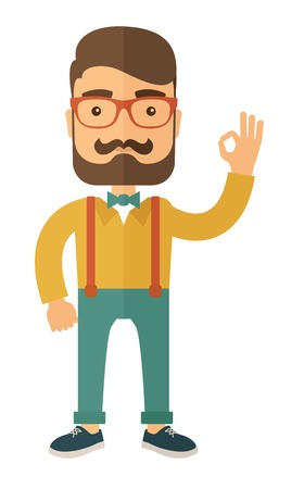 Young handsome casually dressed hipster guy with modern haircut and beard. Flat vector illustration.