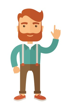 style goatee: Young handsome casually dressed hipster guy with modern haircut and beard. Flat vector illustration.