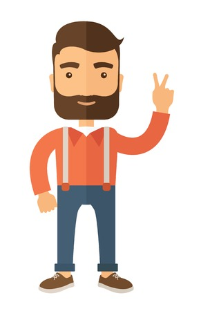 dressed: Young handsome casually dressed hipster guy with modern haircut and beard. Flat vector illustration.
