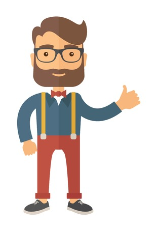 cool guy: Young handsome casually dressed hipster guy with modern haircut and beard. Flat vector illustration.