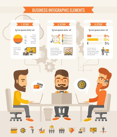 team business: Three businessmen with beards discussing ideas at the table. Vector flat design Infographic Template. Customizable Elements.