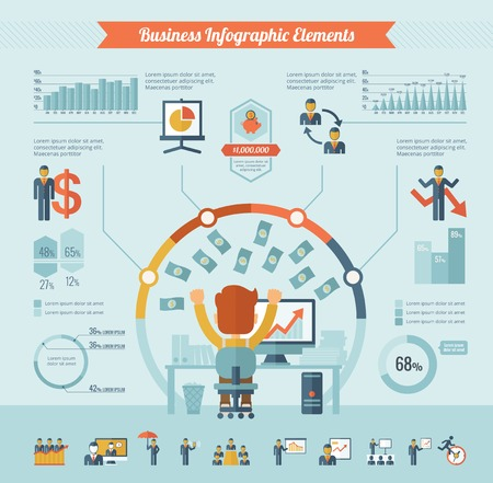 Business Infographic Template. Vector flat design Infographic Template. Customizable Elements.