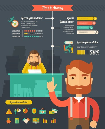 Business Infographic Template. Vector flat design Infographic Template. Customizable Elements. Vector
