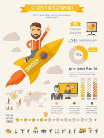 design: Business Infographic Template. Vector flat design Infographic Template. Customizable Elements.