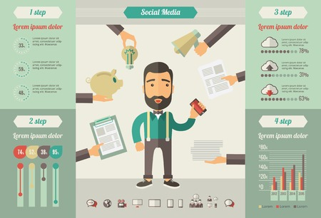 smm: Social Media Infographic Template. Vector Customizable Elements.