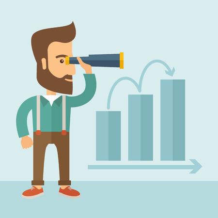L'homme avec une barbe tenant un télescope et voir le graphique vers le succès. notion d'amélioration. Vector design plat Illustration. Illustration