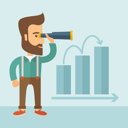 The man with a beard holding a telescope and seeing the graph towards success. Improvement concept. Vector flat design Illustration.