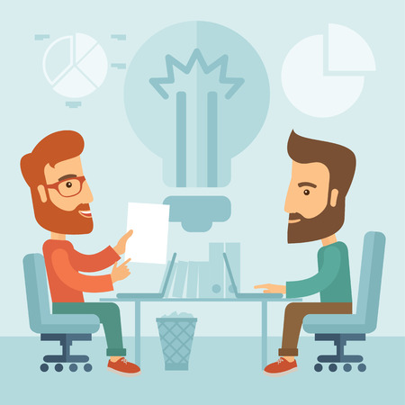 Deux hommes d'affaires avec des barbes discuter des idées à la table. Brainstorming concept. Vector design plat Illustration. Banque d'images - 37094758
