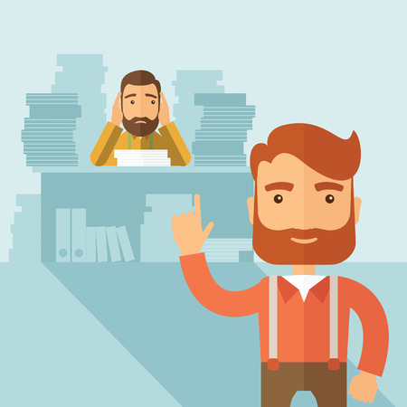 The man with lots of paperwork on the table got scolded by his boss and covering his ears.  Hardworking concept. Vector flat design illustration. Illustration