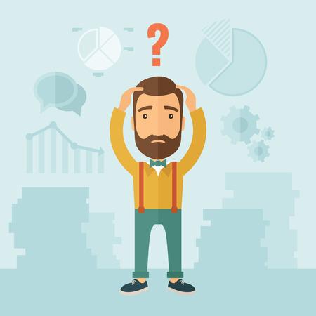 persona confundida: El hombre con una barba con una gran cantidad de planes es confusa y puso las manos en la cabeza. El concepto de confusión. Vector diseño plano ilustración. Vectores