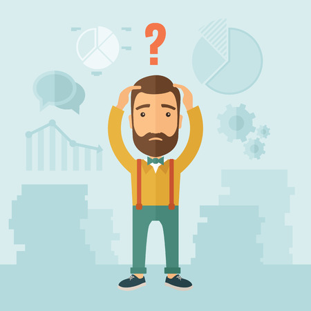 The man with a beard with lots of plans is confused and put hands on the head. The concept of confusion. Vector flat design illustration. Illustration
