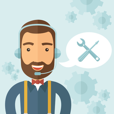 callcenter: The technical support agent taking calls in a call center. Support concept. Vector flat design illustration. Illustration