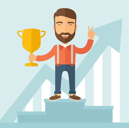 rewarded: The man with a beard standing at the podium holding a golden trophy. Winner concept. Vector flat design illustration.