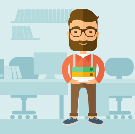 The office clerk with a beard standing in front of his desk and holding office documents. Office job concept. Vector flat design illustration.