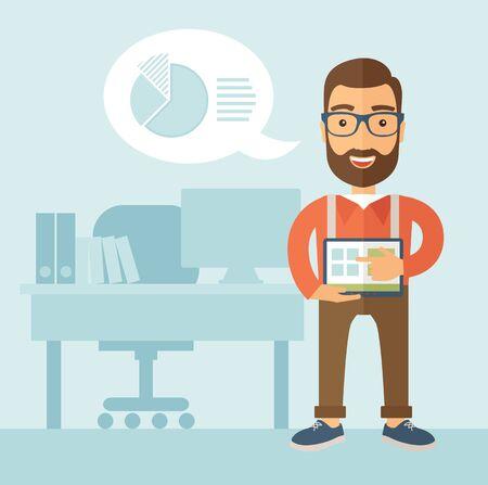 jornada de trabajo: El hombre con una barba en los vidrios que sostienen una tableta y de pie junto a su mesa. Concepto Presentación. Vector diseño plano ilustración.