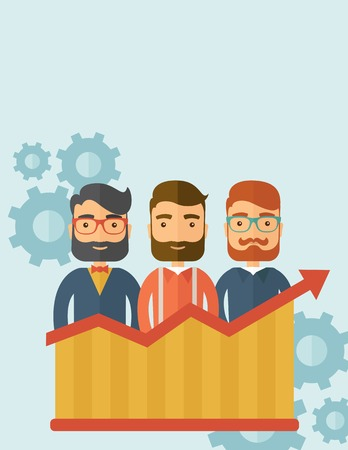 Three businessmen with beards over growing chart. Perspective business concept. Vector flat design Illustration. Vertical layout with a text space in a top.