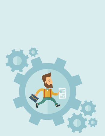 manager: The man with a beard is running inside the gear. Business in action concept. Vector flat design Illustration. Vertical layout with a text space in a top.