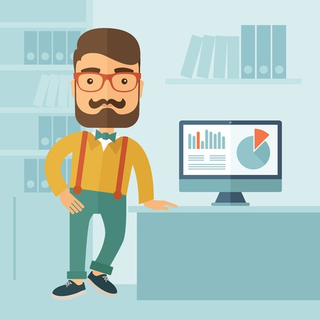 L'homme avec une barbe présentation de son rapport par l'infographie dans le bureau. Rapports concept. Vector design plat illustration.