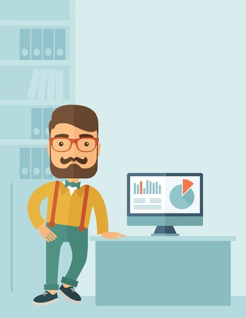the reporting: The man with a beard presenting his report through infographics in office. Reporting concept. Vector flat design illustration. Vertical layout with a text space in a top right corner.